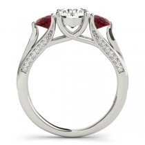 Three Stone Round Ruby Engagement Ring Platinum (1.69ct)