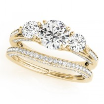 Three Stone Round Bridal Set 14k Yellow Gold (1.92ct)