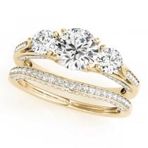 Three Stone Round Bridal Set 18k Yellow Gold (1.92ct)