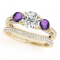 Three Stone Round Amethyst Bridal Set 14k Yellow Gold (1.92ct)