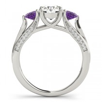Three Stone Round Amethyst Bridal Set 18k White Gold (1.92ct)