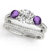 Three Stone Round Amethyst Bridal Set Palladium (1.92ct)