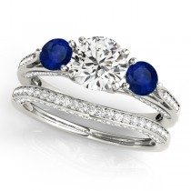 Three Stone Round Blue Sapphire Bridal Set 14k White Gold (1.92ct)