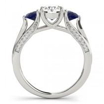 Three Stone Round Blue Sapphire Bridal Set 14k White Gold (1.92ct)