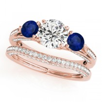 Three Stone Round Blue Sapphire Bridal Set 18k Rose Gold (1.92ct)