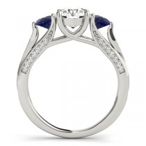 Three Stone Round Blue Sapphire Bridal Set 18k White Gold (1.92ct)