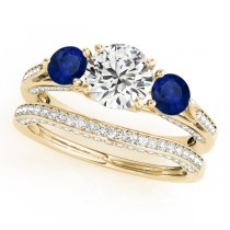 Three Stone Round Blue Sapphire Bridal Set 18k Yellow Gold (1.92ct)
