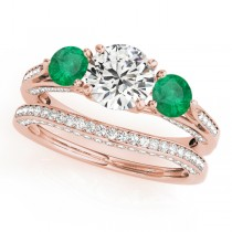 Three Stone Round Emerald Bridal Set 14k Rose Gold (1.92ct)