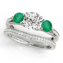 Three Stone Round Emerald Bridal Set 14k White Gold (1.92ct)