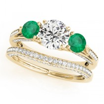 Three Stone Round Emerald Bridal Set 14k Yellow Gold (1.92ct)
