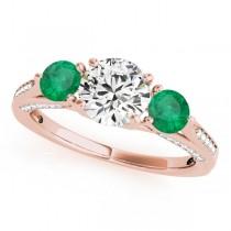 Three Stone Round Emerald Bridal Set 18k Rose Gold (1.92ct)