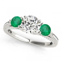Three Stone Round Emerald Bridal Set Platinum (1.92ct)
