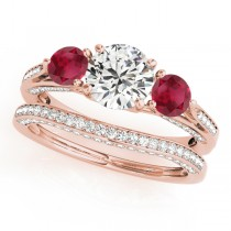 Three Stone Round Ruby Bridal Set 14k Rose Gold (1.92ct)