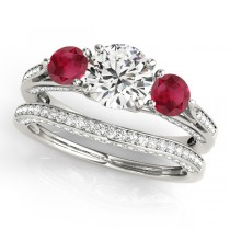Three Stone Round Ruby Bridal Set 14k White Gold (1.92ct)