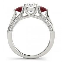 Three Stone Round Ruby Bridal Set 14k White Gold (1.92ct)