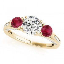 Three Stone Round Ruby Bridal Set 14k Yellow Gold (1.92ct)