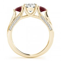 Three Stone Round Ruby Bridal Set 18k Yellow Gold (1.92ct)