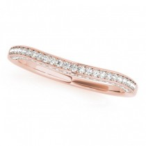 Curved Band Diamond Wedding Band 18k Rose Gold (0.23ct)