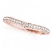 Curved Band Diamond Wedding Band 18k Rose Gold (0.23ct)