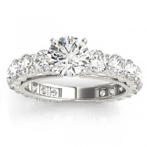 Diamond Accented Engagement Ring Setting 14k White Gold 1.96ct