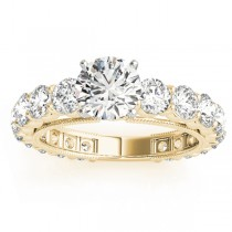 Luxury Diamond Eternity Engagement Ring Setting 18k Yellow Gold 1.96ct