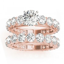 Diamond Accented Bridal Ring and Band Setting 14k Rose Gold 4.57ct