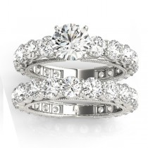 Luxury Diamond Eternity Bridal Ring Set 14k White Gold 4.57ct