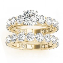 Luxury Diamond Eternity Bridal Ring Set 14k Yellow Gold 4.57ct