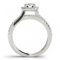 Diamond Frame Engagement Ring, Split Shank, Halo 14k W. Gold 1.25ct