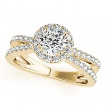 Diamond Frame Engagement Ring, Split Shank, Halo 14k Y. Gold 1.25ct