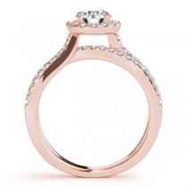 Diamond Frame Split Shank Ring & Band Bridal Set 14k Rose Gold 1.50ct