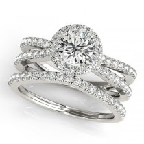 Diamond Frame Split Shank Ring & Band Bridal Set 14k White Gold 1.50ct