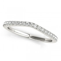 Diamond Contour Wedding Ring, Prong Set in 14k White Gold 0.21ct