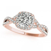 Twisted Cushion Moissanite Engagement Ring 14k Rose Gold (1.50ct)