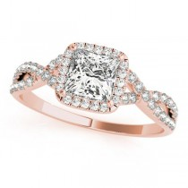 Twisted Princess Moissanite Engagement Ring 14k Rose Gold (1.00ct)