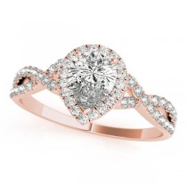 Twisted Pear Diamond Engagement Ring 14k Rose Gold (1.00ct)