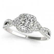 Twisted Cushion Diamond Engagement Ring 14k White Gold (1.00ct)