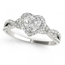 Twisted Heart Diamond Engagement Ring 14k White Gold (1.00ct)