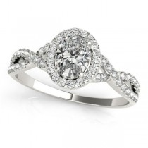 Twisted Oval Moissanite Engagement Ring 14k White Gold (0.50ct)