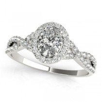 Twisted Oval Diamond Engagement Ring 14k White Gold (1.50ct)