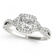 Twisted Princess Diamond Engagement Ring 14k White Gold (0.50ct)