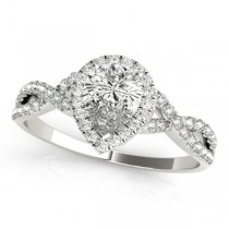 Twisted Pear Diamond Engagement Ring 14k White Gold (1.00ct)