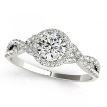 Twisted Round Diamond Engagement Ring 14k White Gold (0.50ct)