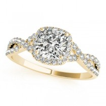 Twisted Cushion Diamond Engagement Ring 14k Yellow Gold (1.00ct)