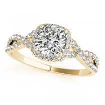 Twisted Cushion Moissanite Engagement Ring 14k Yellow Gold (0.50ct)