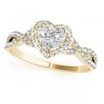 Twisted Heart Diamond Engagement Ring 14k Yellow Gold (1.50ct)