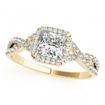 Twisted Princess Diamond Engagement Ring 14k Yellow Gold (0.50ct)