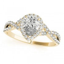 Twisted Pear Moissanite Engagement Ring 14k Yellow Gold (1.50ct)