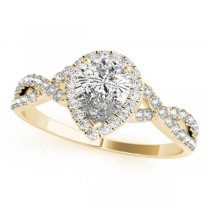 Twisted Pear Diamond Engagement Ring 14k Yellow Gold (1.00ct)