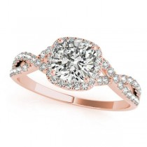 Twisted Cushion Diamond Engagement Ring 18k Rose Gold (1.00ct)